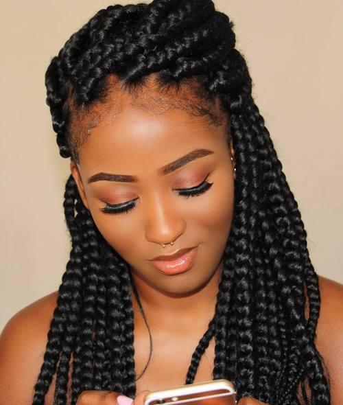 penteados com tranças de linha